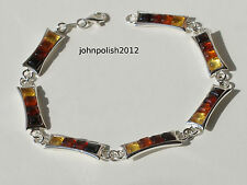 Rainbow Baltic Amber Bracelet on Silver 925