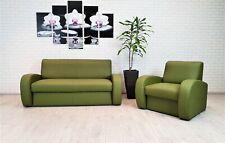 Grünes Echtleder Sofagarnitur Sofa + Sessel Echtes Leder Couch Set Ledermöbel