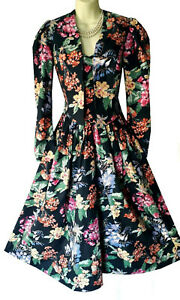 VINTAGE LAURA ASHLEY 1950s STYLE BLACK/MULTI FLORAL SUN DRESS/JACKET, UK 10