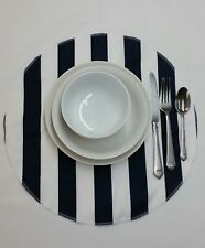 "Set of 4 reversible Round placemats black and white canopy 1.5"" stripes"