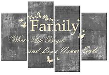 FAMILY QUOTE CANVAS PICTURE GREY CREAM 4 PANEL SPLIT WALL ART MULTI 100cm