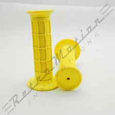 "USA Made - MX Waffle Handlebar Rubber Grips Motocross Dirt Bike 22mm 7/8"" Yellow"
