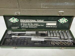 """SK PROFESSIONAL TOOLS 94527 3/8"""" Drive Socket Set, SAE, 17pcs (dd) (a512)"""