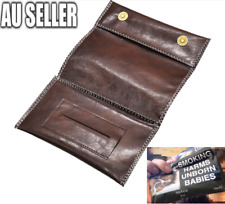 Brown Leather Cigarette Tobacco Pouch Holder Bag Case Paper Great Gift