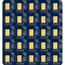 25 x 1 g Gram Gold Bar Sheet PAMP- Multigram - Lady Fortuna Design - PAMP Suisse