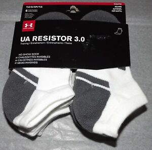 NEW 6 Pairs Under Armour Youth Boy's UA Resistor 3.0 Training NO SHOW Socks YLG