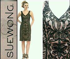 $428 SUE WONG Black Lace Embellish Soutache Applique Cocktail Dress ~ 8  M3020