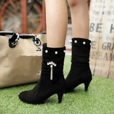 grace Womens Tassels round toe Pearls High Heel Casual comfort Mid-calf Boots
