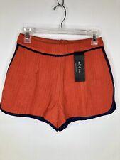 Ark & Co Women S Red/Orange High Waist Shorts Herringbone Navy Faux Leather Trim