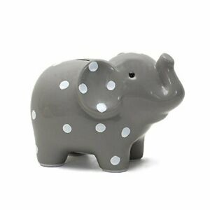 Child to Cherish Ceramic Polka Dot Elephant Piggy Bank, Grey