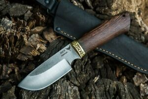 """Russia Hunting Knife """"Beaver"""" Forged Stainless Steel Wenge Brass Handmade"""