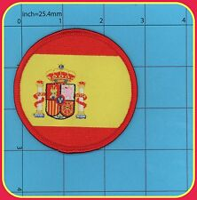Spain Flag Iron on Patch España QUALITY Embroidery NEW ROUND Biker Army
