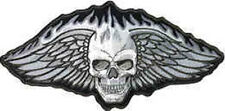 Iron On/ Sew On Embroidered Patch Badge Skull Wings Winged Black and White Large