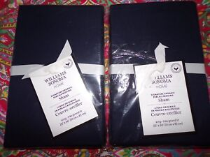 2 WILLIAMS SONOMA HOME SIGNATURE ORGANIC PERCALE SHAMS, KING, NAVY,POTTERY BARN