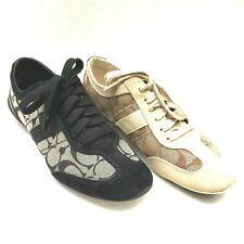 New listing Coach LOT Sz 7.5 Women Casual Tennis Shoe Baylee TWO Pair Black White Logo A1474