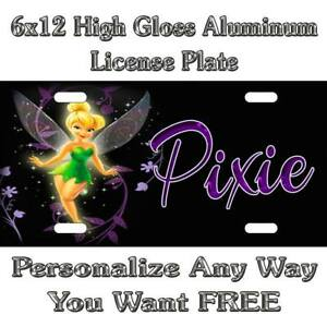 Tinker Bell Pixie Sign Custom Monogram License Plate Auto Car Tag Personalize Ba