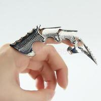 Mens Silver Gothic Punk Joint Armor Knuckle Hinged Long Double Full Finger Ring