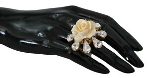 DOLCE & GABBANA Ring Gold Plated White Rose Crystal Embellished Jewelry