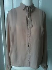 Vintage PLANET blouse size UK 16 made in England  taupe pleat bow tie blogger
