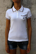 MARINA YACHTING Vtg 80s POLO Casual WHITE Red & Blue piping T SHIRT TOP S SUPER