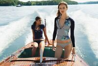 Tory Burch Blue Persica Print Surf Shirt Rashguard S 4  NWT  Floral Stripes