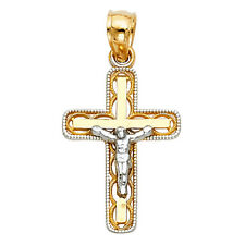 14k Yellow White Gold Jesus Christ Cross Charm Pendant Crucifix Milgrain His Her