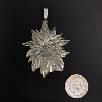 Poinsettia Pendant Unmarked Metal Possibly Pewter Holiday Pretty For Necklace A2