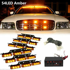 54 LED Grill Light Car Strobe Emergency Warning Visor Top Work Lamp Bulbs Ki