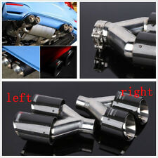 Car Left+Right 63-89mm Glossy Carbon Fiber Dual Pipe Exhaust Tail Throat Muffler
