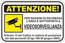 KIT 1 ADHESIVOS ADHESIVO SIGNO 10X15 ZONA VIDEO VIGILANCIA ATENCIÓN COD149