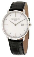Frederique Constant Slimline Silver Dial Black Leather Men's Watch FC-220S5S6 SD