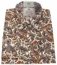 Relco Mens Paisley Shirt Long Sleeve Vintage Mod Retro Platinum Collection Vtg