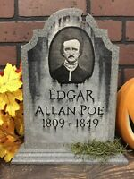 Halloween Edgar Allan Poe Tombstone Gravestone Table Sign Painting Cemetery Art