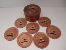 Vintage Mexican Themed Bamboo Coasters, Set of 7, Made in Japan