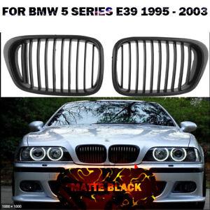 FOR BMW 5 SERIES E39 1995 - 2003 FRONT BUMPER MATTE BLACK KIDNEY GRILLE GRILL UK