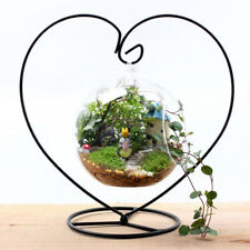 Black Heart-shaped Iron Hanging Plant Glass Vase Terrarium Stand Holder JB