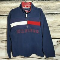 Tommy Hilfiger Men's Size Large 1/2 Zip Flag Fleece Jacket Sweater Spell Out