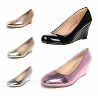 NEW WOMEN'S FOREVER DORIS PATENT ROUND TOE WEDGE HEEL PUMPS SHOES