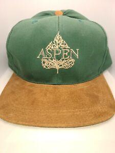 ASPEN Green with Brown Suede Brim Snapback Baseball Cap