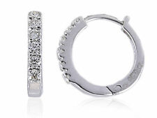 Pave 0.26 Cts Round Brilliant Cut Diamonds Hoop Earrings In Solid 18K White Gold