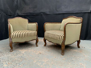 EB1968 Pair of Danish Carved  Oak & Green Velour Arm Chairs Vintage Lounge Retro