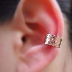 Ear Conch Cuff Fake Piercing Textured Hammered  Rose Gold Filled 7mm Wide Cuff