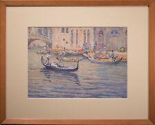 Anna Lee Stacey Original Painting, Watercolor & Gouache, Venice Gondolas, RARE!