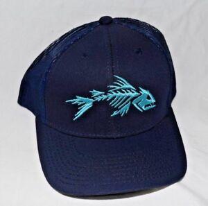Outdoor Cap Bone Fish Logo  One Size Adjustable Mesh Back Navy Blue NEW