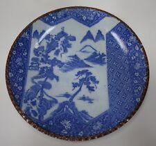 #rtrmAA Japanese Arita Meiji porcelain plate Inban piecrust edge, b&w landscape