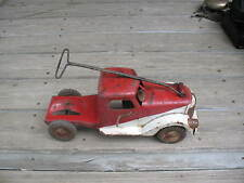 1940's Buddy L Sit-N-Ride Red & White Truck With Wind Up Siren Motor, Needs Work