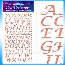 Eleganza OA027234 Stylised Alphabet Letter Glitter Craft Stickers - Rose Gold SE