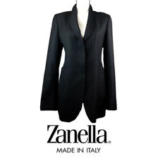 "ZANELLA ""Shelly"" 100% Fleece Wool Blazer Jacket Herringbone Charcoal Sz 12"