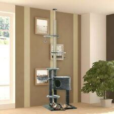 Árbol Rascador para Gatos de 220-245 cm Altura Ajustable al Techo con...