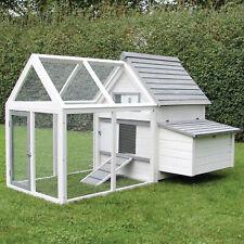 Hühner Haus ELLEN aus grau weißen Holz mit Auslauf Stall Voliere für Huhn u Hahn